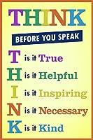 ポスターFoundry教室Sign Think Before You Speak motivaltional Inspirationalサインイエローストレッチキャンバス壁アート16x 24インチ