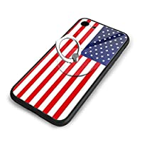 American Flag Iphone 7/8 TPUガラス電話ケース +丸型ブラケット落下防止 傷なし