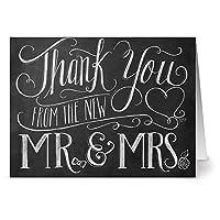 黒板ノートカード 72枚 - 新作Mr. & Mrs. - 空白カード - クラフト封筒付き