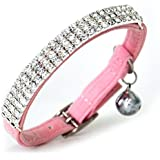CHUKCHI Soft Velvet Safe Cat Adjustable Collar Bling Diamante With Bells,11 inch for small dogs and cats (Pink)