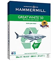 Hammermill Paper Great White 50% Recycled Copy Paper 20lb 8.5 x 11 Letter 92 Bright 500 Sheets / 1 Ream (086780) Made In The USA [並行輸入品]
