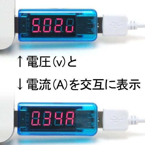 ルートアール USB 簡易電圧・電流チェッカー ストレート型 3.4V~8.0V,0A~3A ライトブルー RT-USBVA2  (Rev.2)