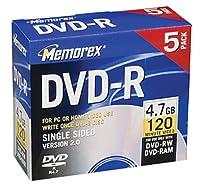 Memorex 4.7GB DVD - Rメディア( 5- Pack )