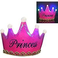 (アワンキー) Aoneky 誕生日 パーティー 王冠 プリンセス ティアラ 飾り お祝い 演出 LED 子供用 可愛い (バラの色)