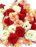 Amazon.co.jp造花 花部分 のみ 薔薇 ローズ 60個 セット ブライダル パーティー イベント に (レッド ピンク ホワイト )