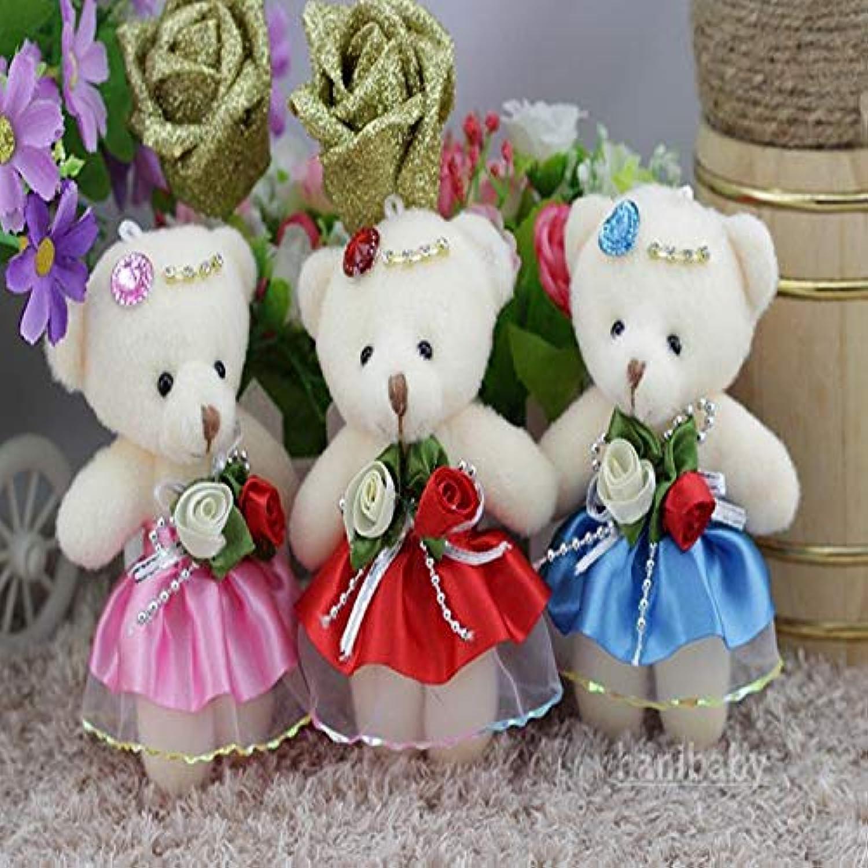 JEWH かわいい小さなテディベア ぬいぐるみ ミニカートゥーンブーケ - テディベア結婚式 子供 おもちゃの電話 キーペンダント (12個/ロット) (混合色)