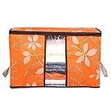 「60*40*35cm」ふとん収納袋 布団衣類収納ケース 着物 仕切り 4種類 (オレンジ)