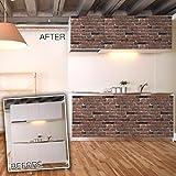 【保証付】DIY 壁紙シール 45cm×10m 接着材なし 簡単貼り付けタイプ ブラウンレンガ調 防水