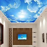 壁画現代の3D写真の壁紙青空と白い雲の壁紙ホームインテリアインテリアリビングルーム天井ロビー壁画壁紙-400X280Cm