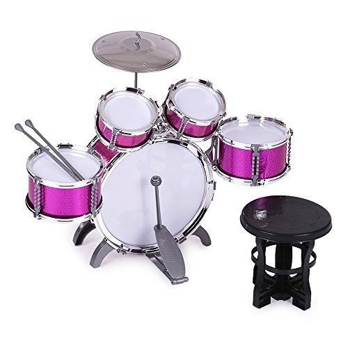 ammoon 10点セット キッズドラム ドラムセット 3色選択 楽器 玩具 1バスドラム/4ドラム...