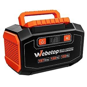 Webetop ポータブル電源 大容量 45000mAh 167Wh 家庭用蓄電池 予備電源 自家発電機 AC 150W DC USB出力 QC3.0急速充電 LED画面表示 三つの充電方法 キャンプ 車中泊 アウトドア 地震 台風 防災 停電時に [12ヶ月保証]