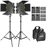 Neewer 2個 調光可能な二色660 LEDビデオライトとスタンドセット セット内容:Uブラケットとバンドア付き660 LED(3200-5600K、CRI96+)、電池、電池充電器、調整可能なライトスタンド スタジオ撮影、YouTube、商品撮影、ビデオ撮影に適用