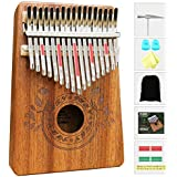 UNOKKI Unisex Kalimba 17 Keys Thumb Piano with Study Instruction and Tune Hammer, Portable Mbira Sanza African Wood Finger Pi
