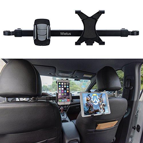 Wietus 車載スマホ/ipadホルダー 後部座席用ヘッドレスト取付型 タブレットとスマホ両用カースタンド 360度回転可能 3.5~6.0インチの携帯と7~10インチのタブレットに対応 (JP HD-52)