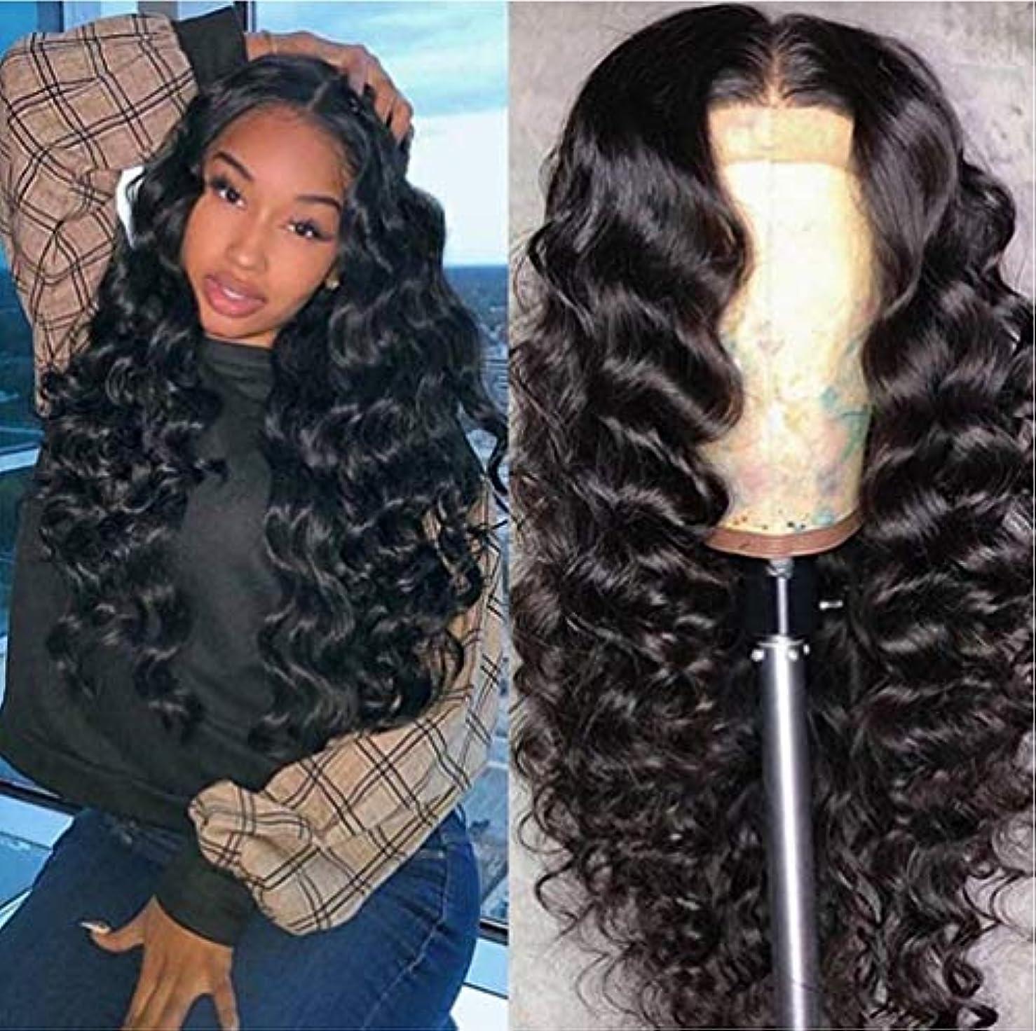 アームストロングピンチ中世の女性フロントレースブラジルかつら実体波150%完全密度で赤ちゃんの髪未処理人間の髪の毛黒62 cm