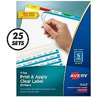 Index Maker Divider w/Multicolor Tabs, 5-Tab, Letter, 25 Sets/Box (並行輸入品)