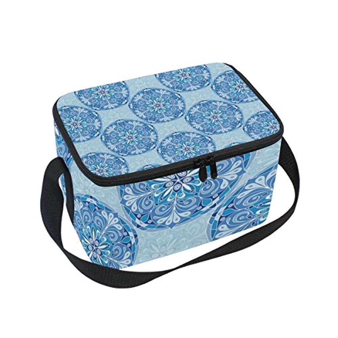 浸す旅行メトリッククーラーバッグ クーラーボックス ソフトクーラ 冷蔵ボックス キャンプ用品 ネイビー 民族風 花 保冷保温 大容量 肩掛け お花見 アウトドア