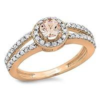 10Kローズゴールドラウンドモルガナイト&ホワイトダイヤモンドレディースブライダル分割シャンクヘイロースタイル婚約リング