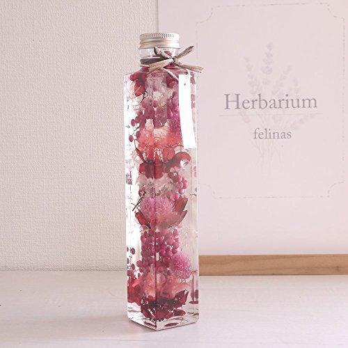 ハーバリウム[角瓶ピンク,1本]プリザーブドフラワー ドライ...