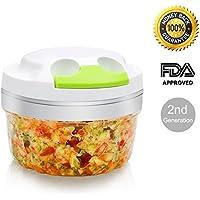 Powerful Manual Pulling Food Chopper - Hand Held Vegetable Chopper / Mincer / Blender - Chop Fruits, Vegetables, Herbs, Onions, Garlics by HOMETEK