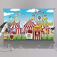 JOYPARK サーカス テント 写真ブース 背景 パーティー装飾用 写真撮影用背景幕 ベビーシャワーや誕生日写真用 ビニール製小道具