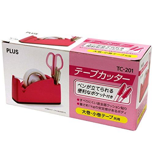 プラス テープカッター ペン立てポケット付き TC-201 ピンク 31-241