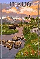 Idaho–ムースとサンセット 16 x 24 Giclee Print LANT-50084-16x24