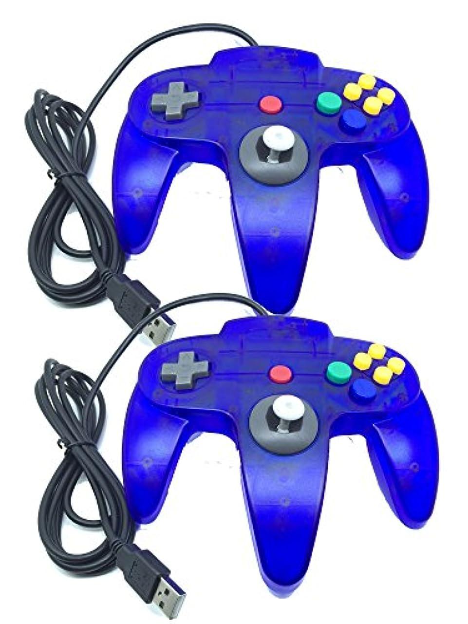 封筒解体する居心地の良いBowink 有線USB N64コントローラー ゲームパッドPC で使用可能に(ブルー + ブルー)