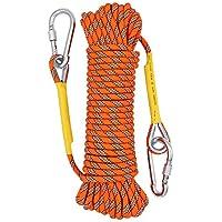 クライミングロープ ザイル 多目的ロープ 太さ8mm登山用ロープ10m 13本ボリエステル紐で組み合わせた頑丈な高強度 多機能 安全ロープ フック カラビナ2個付きブルーロープ10m、20m、30m、50mお選べます