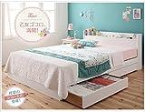 IKEA・ニトリ好きに。棚・コンセント付き収納ベッド【Fleur】フルール【フレームのみ】シングル | ホワイト