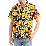 [OKI(オキ)] アロハシャツ フリーサイズ ユニセックス 沖縄 紅型シャツ かりゆし 琉球 (S, オレンジ)