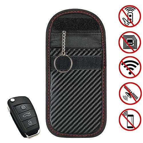 スマートキー 電波遮断ポーチ リレーアタックによる車の盗難防止 ZealBea Focus カーセキュリティ ブロッキングポーチ 防犯対策 スキミング防止 高級皮革 カーボン調 ブラック