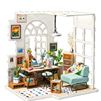 Liebye 木製ステレオミニハウス クリエイティブアセンブリハウスモデルのおもちゃ子供&大人のためのギフトとして DGM01心の平和