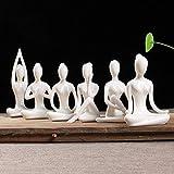Aifeer Lot Of 6 Meditation Yoga Pose Statue Figurine Ceramic Yoga Figure Set Decor (White Set)