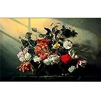 Ansyny カスタム壁画リビングルームの壁紙ウォールステッカーホワイトローズフルーツ油絵画像3D壁壁画壁紙用壁-160X120CM