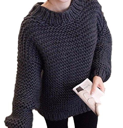 袖 ふんわり 綺麗め ざっくり ゆる ニット ハイネック セーター (黒)