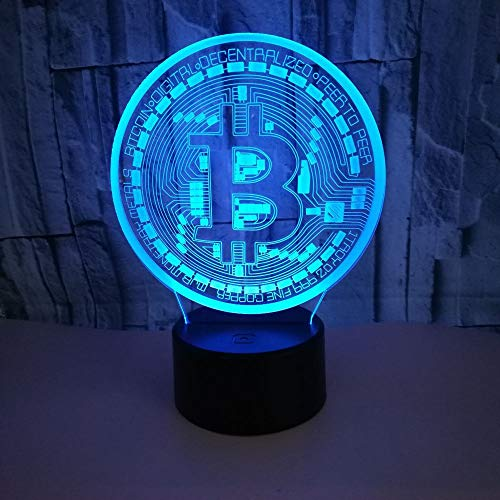 ビットコイン3Dランプ-3Dイリュージョンランプ3パターンおよび7色変更装飾ランプ、子供用リモコン、男の子用ギフト
