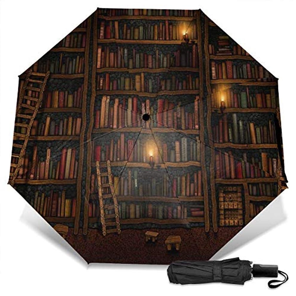 消費する実証する印象古い図書館の本の本棚シリーズ折りたたみ傘 軽量 手動三つ折り傘 日傘 耐風撥水 晴雨兼用 遮光遮熱 紫外線対策 携帯用かさ 出張旅行通勤 女性と男性用 (黒ゴム)
