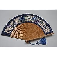 〈婦人用絹扇子〉切り絵短地扇子 /アジサイ柄 紺色