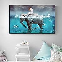 北欧の象の女の子のミニマリストの壁画、リビングルームの壁の寝室のアートの装飾の絵画、変形するのは簡単ではない、黒PSフレーム、無褪色(80 * 40 Cm) 良い材料
