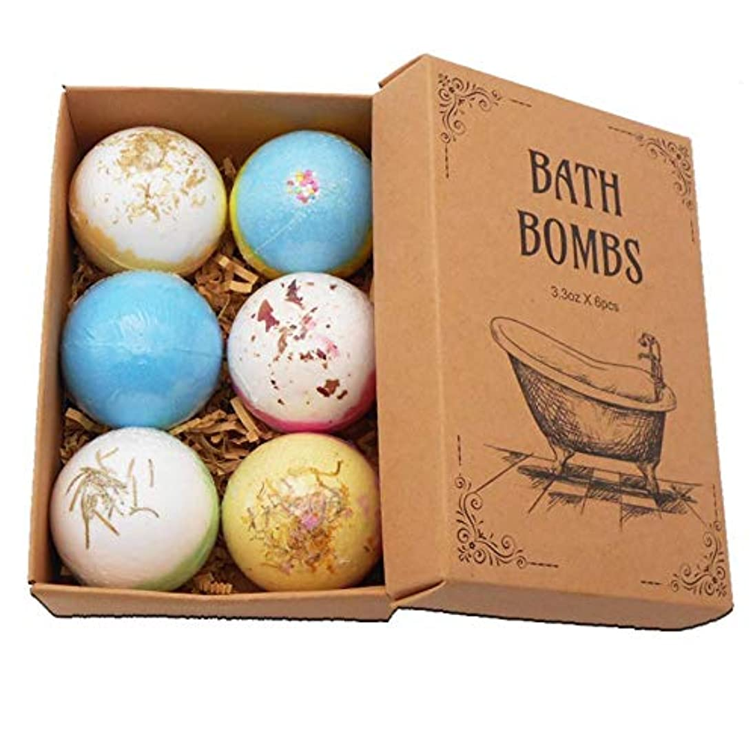 階下器具電球Coldwhite 6PCSバスボム 自然な手作りの海塩ラベンダー風呂爆弾 母のガールフレンドのためのスパ発泡爆弾ギフト