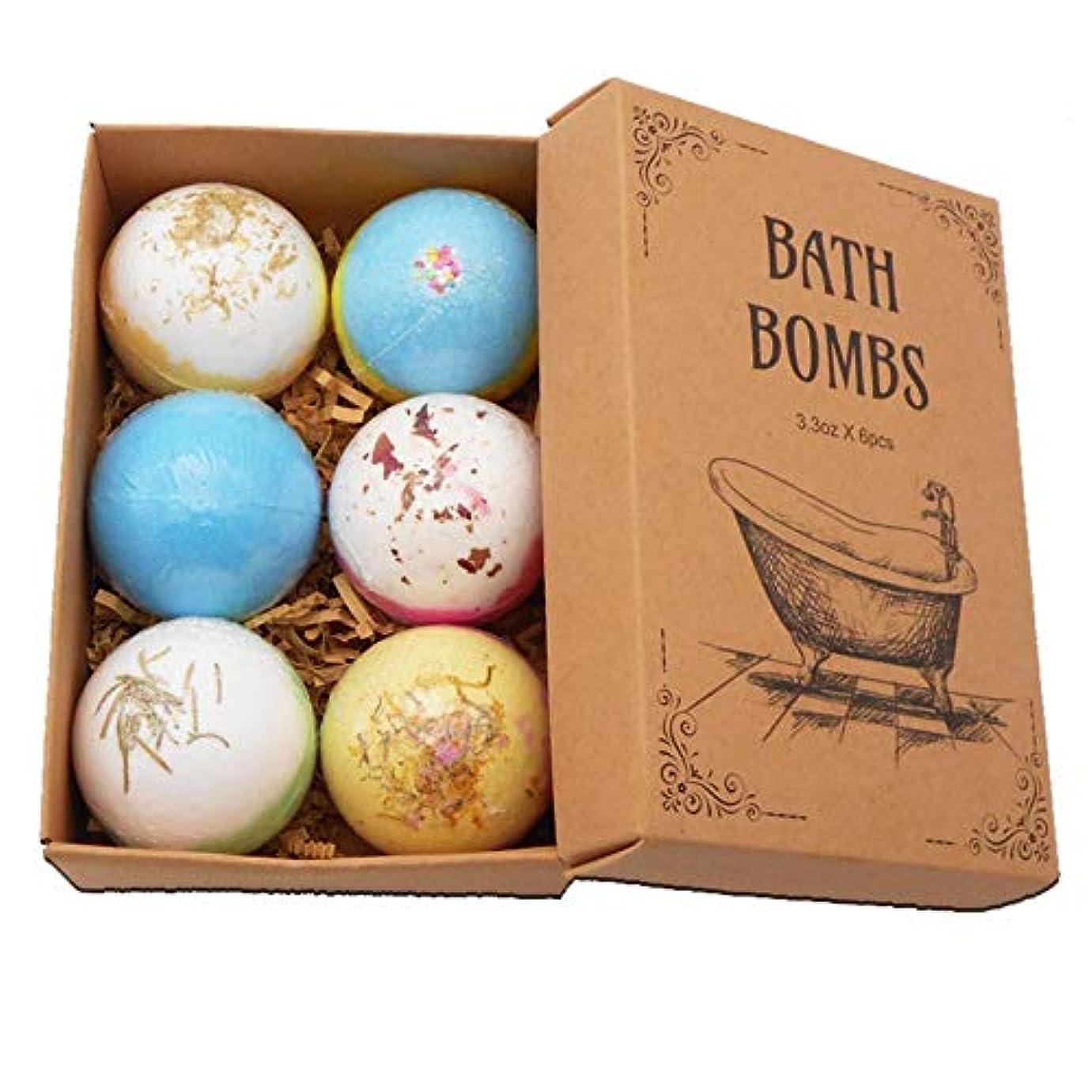 ピンク見物人解放するColdwhite 6PCSバスボム 自然な手作りの海塩ラベンダー風呂爆弾 母のガールフレンドのためのスパ発泡爆弾ギフト