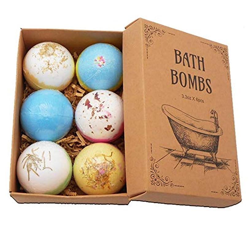 咲く経度優遇Coldwhite 6PCSバスボム 自然な手作りの海塩ラベンダー風呂爆弾 母のガールフレンドのためのスパ発泡爆弾ギフト