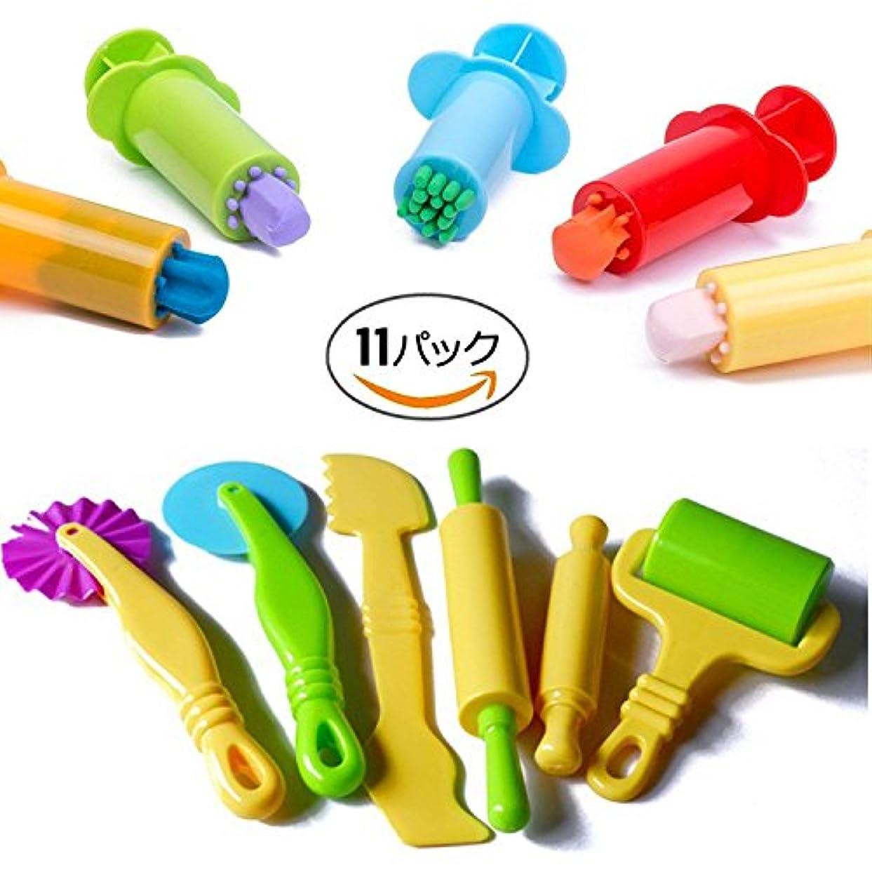 VΛ 11個ねんどのお道具セット ねんどツール 子ども用 こて工具モデル カラープレイ モデルツール 遊び 粘土ツール ランダム色