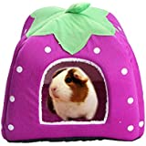 "FLAdorepet Rabbit Guinea Pig Hamster House Bed Cute Small Animal Pet Winter Warm Squirrel Hedgehog Chinchilla House Cage Nest Hamster Accessories (9"" 9"" 10"", Purple)"