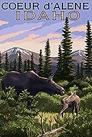 Coeur d 'alene、アイダホ–Moose and Baby Calf 9 x 12 Art Print LANT-50955-9x12