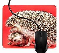 マウスパッド マザー・ベイビー・ハリネズミ, 疲労低減 ワイヤレスマウスパッド 耐久性が良い 滑り止めゴム底 滑りやすい表面 マウス用パット 1F2977