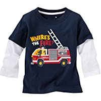 HUAER&&&&&&& Baby Boys Cotton Long-Sleeved T-Shirt Cotton Cartoon Pattern Boys Shirt