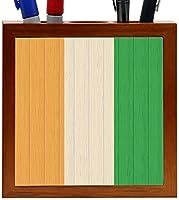 Rikki Knight Cote D'Ivoire Flag on Distressed Wood Design 5-Inch Tile Wooden Tile Pen Holder (RK-PH8700) [並行輸入品]