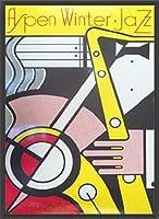 ポスター ロイ リキテンスタイン Aspen Jazz 限定2000枚  額装品 ウッドベーシックフレーム(ブラック)